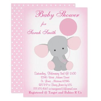 Baby Shower Invitation Pink Elephant Baby Girl