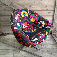 Mid-Century Bucket Swivel Chair Re-Fashioned in a Vintage Black Suzani With Vibrant Embroidery.