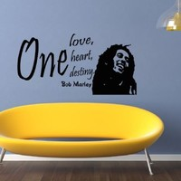 Housewares Vinyl Decal One Love Heart Destiny Bob Marley Quote Home Wall Art Decor Removable Stylish Sticker Mural Unique Design for Any Room