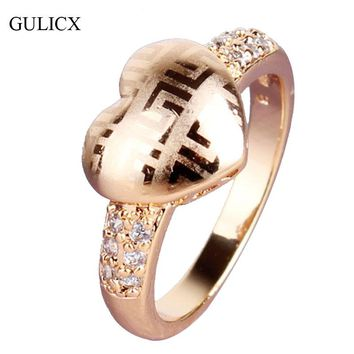 GULICX Fashion Design Finger Ring Gold-color Heart Love Ring Unique Crystal Cubic Zirconia Engagement Rings For Women R035