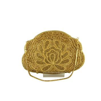 Golden Lotus Beaded Indian Party Clutch