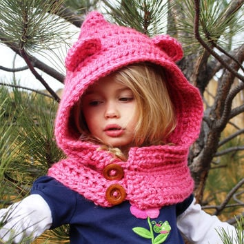 Hooded Cowl, Girls Cowl, Crochet Cowl, Crochet Hooded Cowl Hat, Hooded Bear Cowl, Toddler, Child, Teen/Adult Sizes, Made to Order
