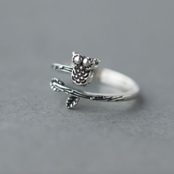 Owl On Branch Ring - 925 Sterling Silver