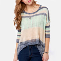 Always Be Cozy Blue Striped Sweater