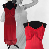 Vintage Lingerie Rogers Full Slip Red Underwear 60's Lingerie Pleated Bodice and Hem Ruffles Nightgown Peignoir