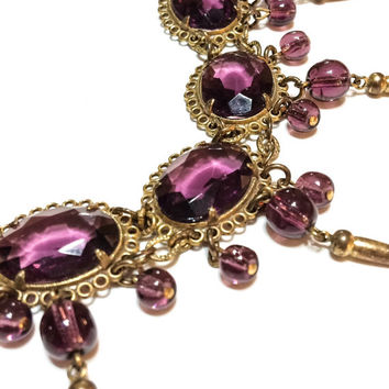 Stunning Czech Glass Bracelet, Victorian or Edwardian, Belle Epoque, Amethyst, Gilded Brass, Filigree, Dangles or Charms, 1900s