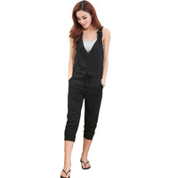 Summer style deep v neck cross backless women jumpsuit plus size ladies sleeveless black overalls and jumpsuits 2016