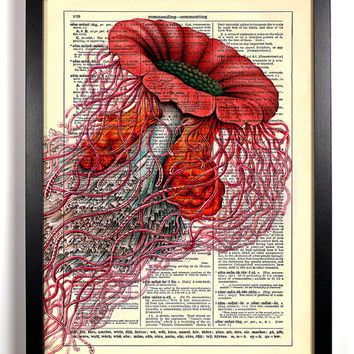 Red Jellyfish Vintage Illustration, Eco Friendly Home, Kitchen, Bathroom, Nursery Decor, Dictionary Book Print Buy 2 Get 1 FREE