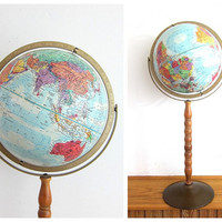 """Vintage Replogle World Globe with Blue Oceans and Wood floor Stand, 12"""" diameter (c.1960s)"""
