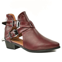 Pride01 Burgundy Pu Women Pointy Toe Cutout Buckle Strap Bootie Ankle Boot
