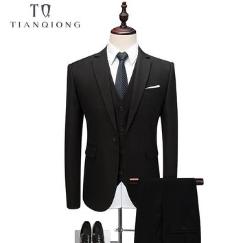TIAN QIONG 2018 Luxury Mens Black Suit Jacket Pants Formal Dress Men Suit Set Men Wedding Suit Groom Tuxedos(jacket+pants+vest)