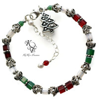 Sterling Silver Christmas Bracelet, Holiday Bracelet, Red and Green Jewelry, Christmas Jewelry, Holiday Jewelry, Gift For Her