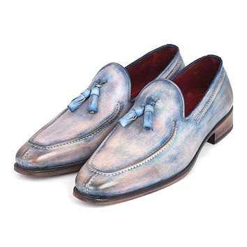 Paul Parkman Tassel Loafers Lila Hand-Painted Shoes (ID#083-LIL)