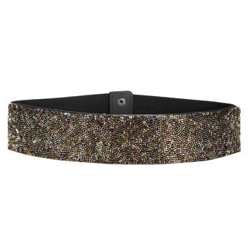 Multicolor Stretch Waist Belt With Glitter Detail