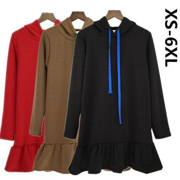 New Arrival 2017 Autumn Womens Long Sleeve Hooded Fashion Winter Flounce Hoodies Sweatshirt Dress 10 Colors Plus Size Xs 5xl 6xl