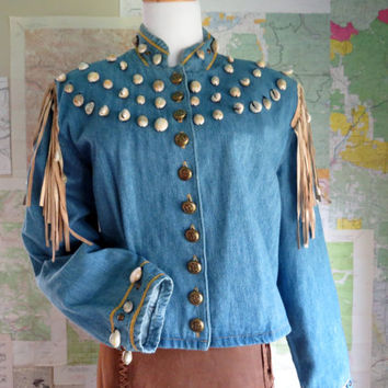 Vintage Double D Ranch Wear Jacket Shells  leather fringe denim DD Ranch Double D Ranchwear Medium Spring Jacket