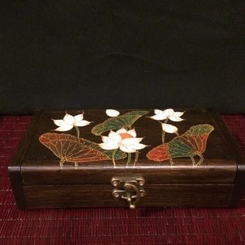 Lotus Jewelry Box / Wooden Keepsake Box / Handmade Thai Teak Wood