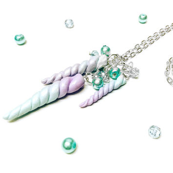 Magical Girl Unicorn Horn Kawaii Handmade Polymer Clay Cute Long Necklace. Fairy Kei - Lolita Fashion - Princess Jewelry - Decora Kei
