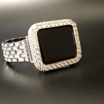 Apple Watch Band Silver Women's Mens Princess Cut Rhinestone Crystals CZ's 38mm/40mm 42mm S 1 2 3 4/42mm/Case Cover Bezel Lab Diamonds Bling