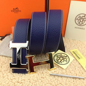 @Brand New Authentic Hermes Blue 110CM/38MM Belt 2H Golden-Sliver Buckle