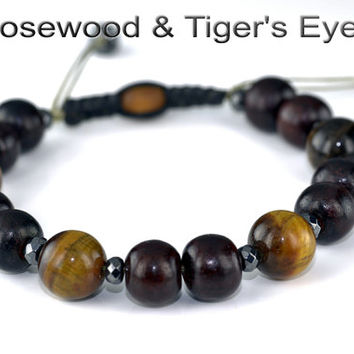 B-301 Aussie Made Adjustable Rosewood Tigers Eye Unisex Wristband Men Bracelet.