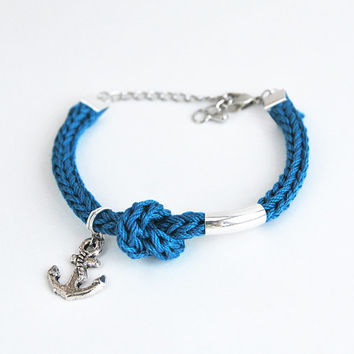 Blue anchor bracelet, nautical bracelet, bracelet with silver anchor and knot