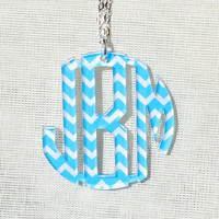 Free Shipping! Aqua Blue Chevron Monogram Acrylic Necklace 1.25 inch in Circle Font (Many Colors Available)