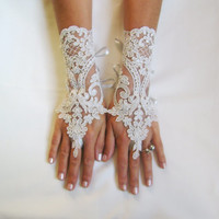 Silver Wedding gloves free ship bridal fingerless french lace light gray grey prom party belly dance burlesque steampunk noir goth lolita