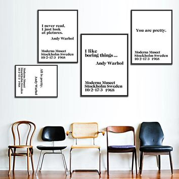 Modern Nordic Black White Minimalist Typography Andy Warhol Life Quotes Art Print Poster Wall Picture Canvas Painting Home Decor