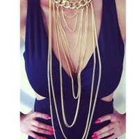 Gold Multi Layer Double Chain Long Necklace