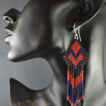 Beaded Earrings Native American Style, Long Dangle Earrings, Long Earrings With Fringe, Beadwork, Native American
