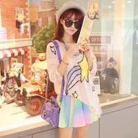 rainbow printing knit sweater YV522