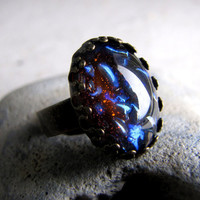 Black Opal Vintage Glass Ring by AshleySpatula on Etsy