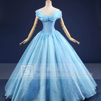 Cinderella 2015 Movie Adult Costumes Luxurious Cosplay Costume Butterflies Dress