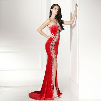 Super sexy red open work strapless velvet & crystal gown  ~ Plus size available