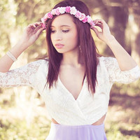 Arabella Pink Rose Flower Crown, Flower Headband, flower halo, flower child, women's accessories