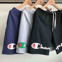 Champion Summer fashion new letter print running sport women and men shorts three color