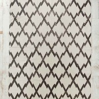 Magical Thinking Diamond-Stamp Handmade Rug- Black & White 5X7