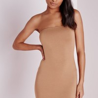 Missguided - Jersey Bandeau Bodycon Dress Camel