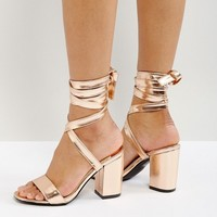 Park Lane Tie Ankle Block Metallic Heel Sandals at asos.com