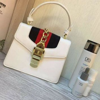 Gucci Women Leather Shoulder Bag Tote Handbag White I