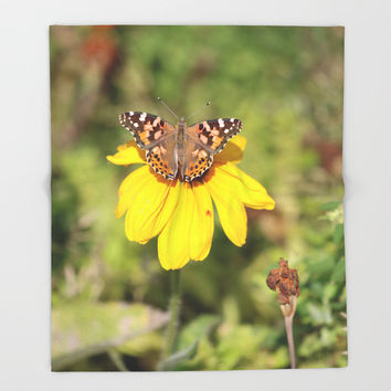 Autumn Butterfly Colors Throw Blanket by Theresa Campbell D'August Art