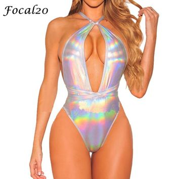 Focal20 Sexy Silver Holographic Women Bodysuit Deep V-neck Crossed Backless Lace Up Laser Bodysuit Women Party Jumpsuit
