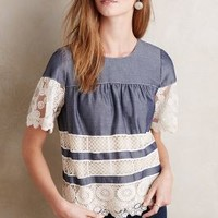 Anna Sui Lace-Dipped Chambray Top in Light Denim Size: