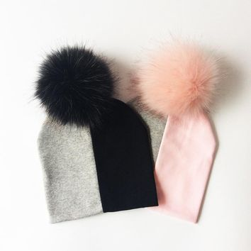 Baby Cap Cotton Patchwork Pompom Hat For Girls And Boys Winter Mother And Baby Hat Fashion Kids Caps Children's Accessories