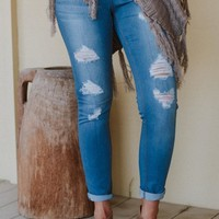 Pull On Distressed Skinny Jeans - Medium Wash