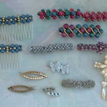 Lot of 14 Hair Jewelry Barrettes Clips Beads Faux Pearls Vintage Jewelry