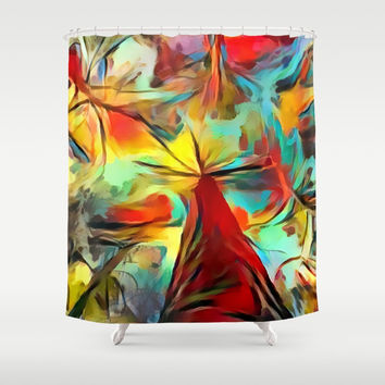 Red forest, colorful sky view, abstract warm artwork, red and yellow colors, nature themed pattern Shower Curtain by Casemiro Arts - Peter Reiss