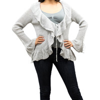 Solid Gray Ruffled Knit Long Sleeve Cardigan