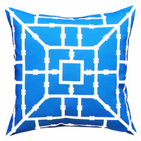 The Bamboo Blue- An Indoor/Outdoor Throw Pillow